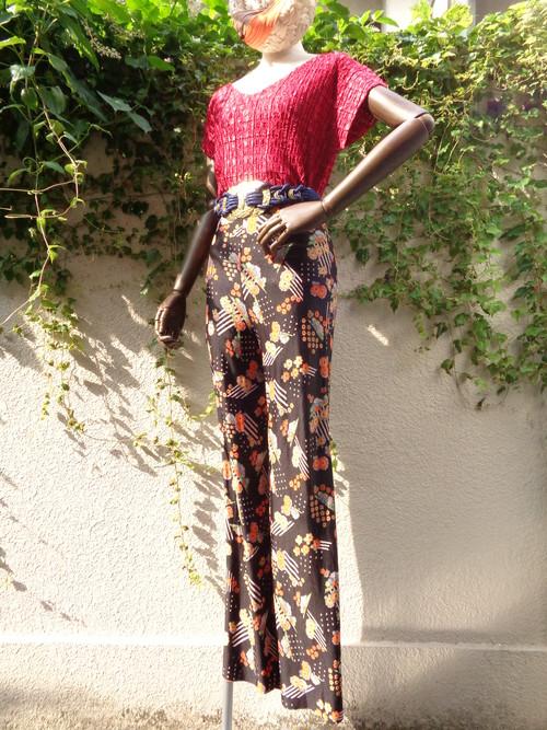 70s flower pattern  pants 70s 花柄 パンツ