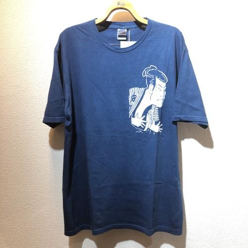 藍染めTシャツ 写楽
