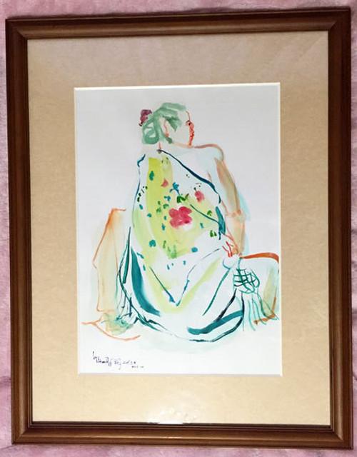 フラメンコ衣装の女*八つ切りサイズ額装水彩画*原画