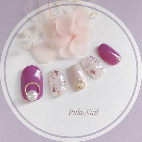 Pukeネイル[No.276]あじさい色・可愛いデコ・シェルで・デート・着物ジェイルネイルチップ