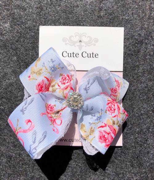 cute cute 水色リボンヘアクリップ キュートキュート