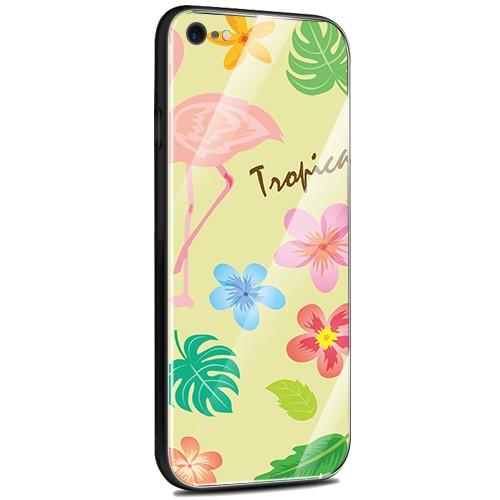 Jenny Desse iPhone 7 / iPhone 8 ケース カバー 背面強化ガラスケース  背面ガラスフィルム シリコンハイブリッドケース 対応 sim free 対応 トロピカル・イエロー(黄色)