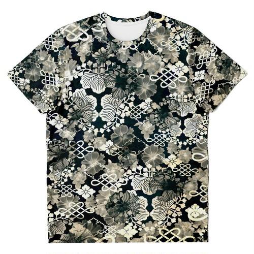 家紋装飾Blue White ユニセックスTシャツ