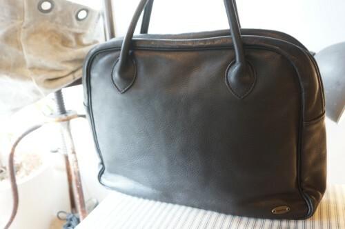 80's black leather Boston Bag