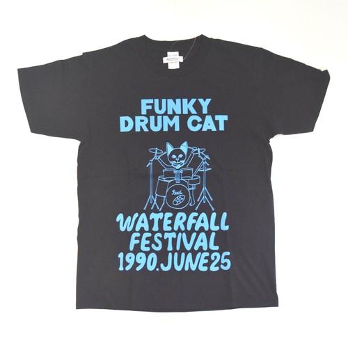 猫ツアーT「猫ドラム」(レコードワッペン) ブラック WATERFALLオリジナル 生産数量限定品  S / M/ L ※即納対応可能