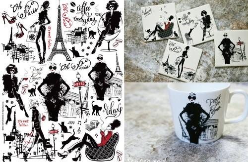 Parisienne パリジェンヌ A4サイズ(ポーセリンアート用転写紙)