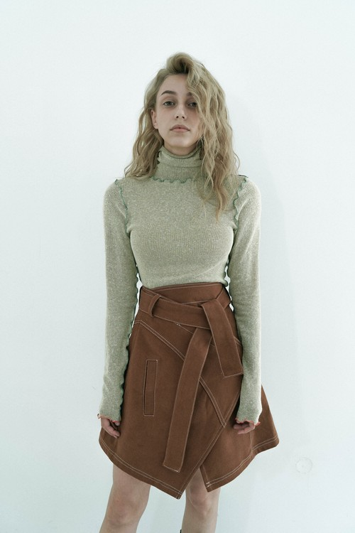 Stitch wrap skirt / Brown
