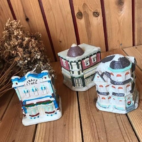≫ヴィンテージ*古い陶器の家型貯金箱3点セット*手塗り手仕上げハウスバンク*北欧オブジェ置物ディスプレイ飾りインテリア*ビンテージ