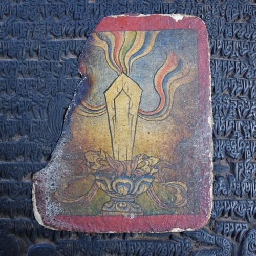 チベット仏教小型細密画ツァカリ クリスタル柄