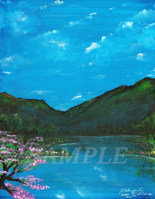 オリジナル絵画(アクリル画)「Lakeside in spring(2020)」デジタルデータ【イラスト素材/湖・湖畔・桜・春・山・自然・風景・アート】