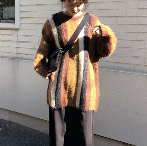 【トップス】韓流ファッションレトロデザインストライプ柄プルオーバーニットセーター