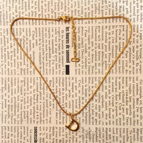 Christian Dior D logo gold necklace