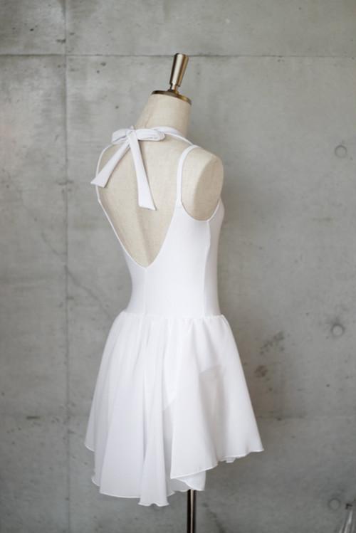 スカート付きホルターリボンキャミソールレオタード ホワイト