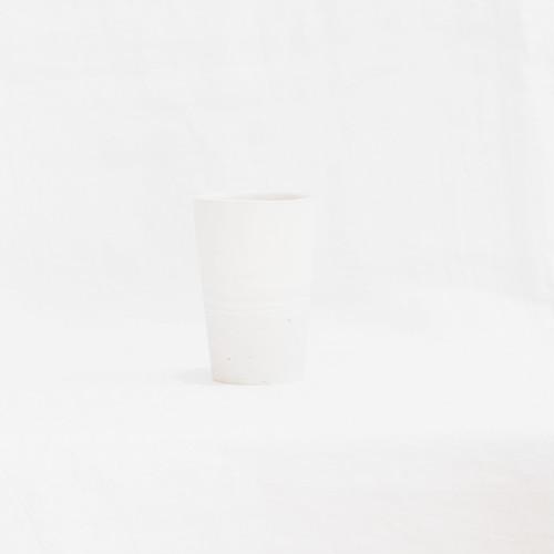アイスコーヒーカップ 白×白荒土