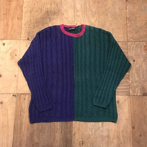 "90s Two-tone Color Design ""cotton"" Knit Sweater"