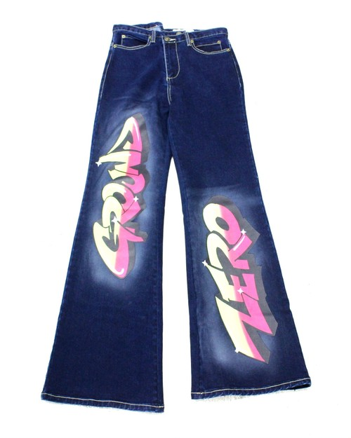 【GROUND ZERO】BRUSH PRINTED FLARED JEANS