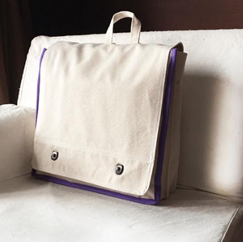 台湾手作り帆布リュック ベージュ x 紫