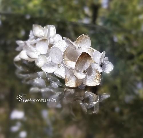 紫陽花アナベルイヤリング【bonheurボヌール】プラチナ&シャンパンゴールド
