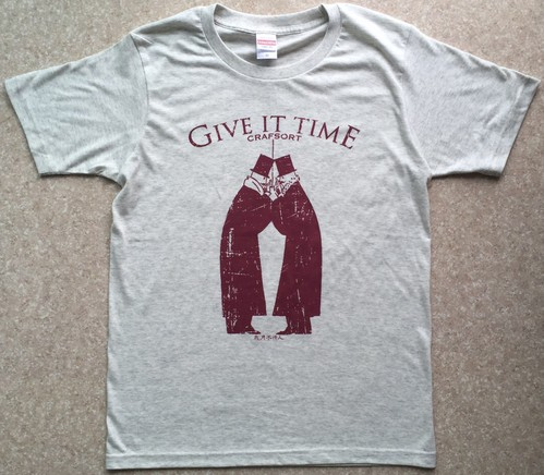 GIVE IT TIME/T-shirts(Oatmeal x Burgundy)