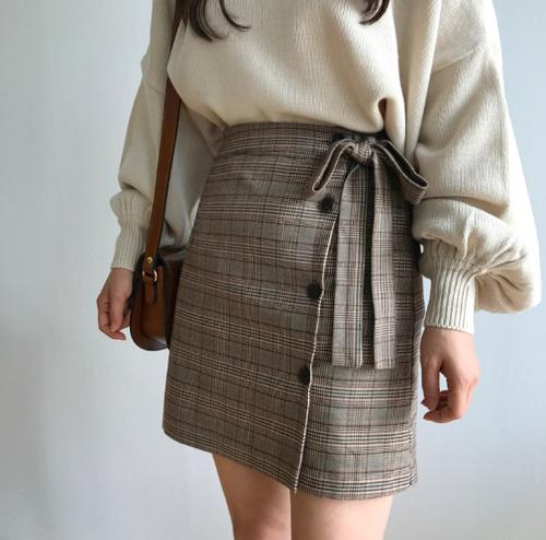 【即納♡】チェックリボンスカート 7891