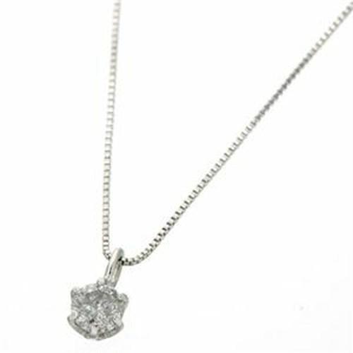 0.1ctダイヤモンドペンダント/ネックレス(ベネチアンチェーン) 18Kホワイトゴールド