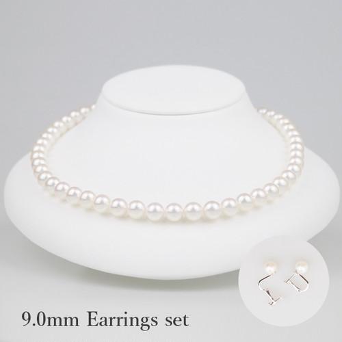 白無垢90E-set(Shiromuku)【Akoya8.5-9.0mm】Necklace & Earrings Set