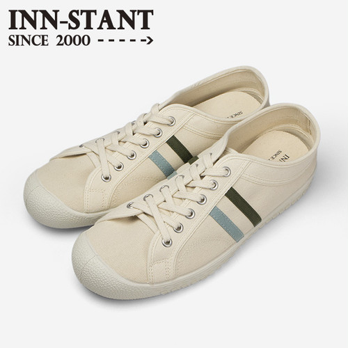 #111 CANVAS SHOES natural/aqua-khaki (white sole) INN-STANT インスタント 【消費税込・送料無料】
