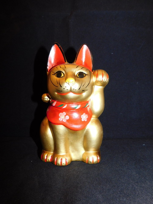 陶器招き猫 (左手) pottery beekoning cat(No24)