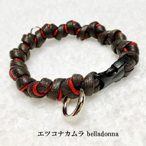 こげ茶&赤綿ロープマクラメ編みの犬首輪
