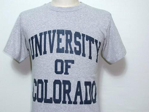 1980's UNIVERSITY OF COLORADO 3段カレッジプリントTシャツ グレー 表記(S)