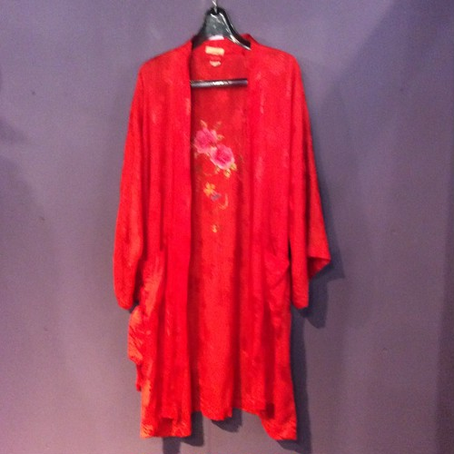 60's red china design gown [B1850]