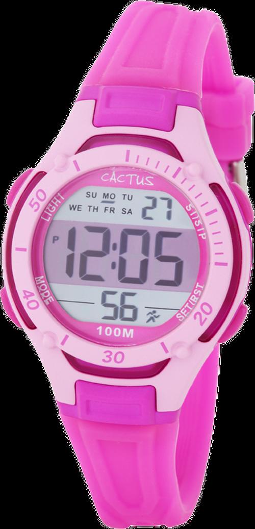[キッズ腕時計]ピンク デジタル液晶 ライト 10気圧防水 CAC-82-M55