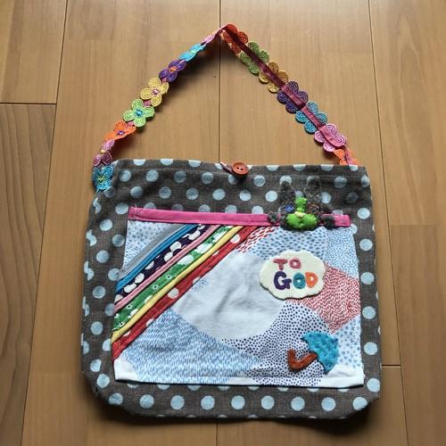 虹のピクニックBAG(茶系グリーン)