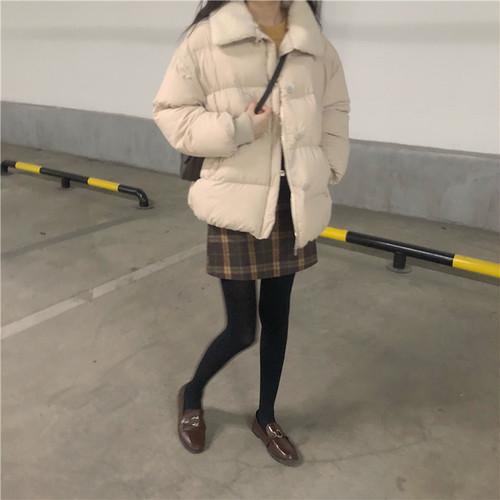 襟ボア 中綿 ショート丈 コート シンプル【17259】