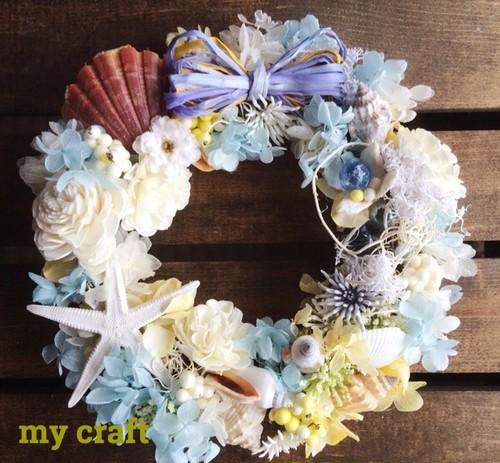 夏の贈り物 貝殻とビー玉リース