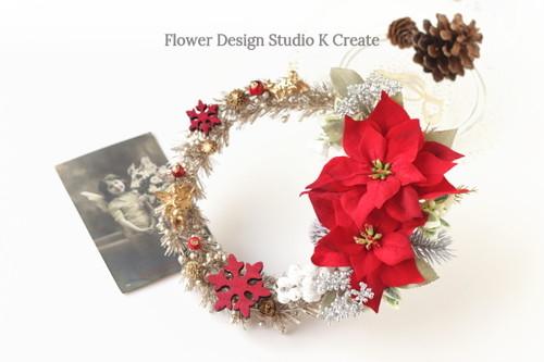 クリスマスに☆ポインセチアと天使のクリスマスリース メリークリスマス ポインセチア 玄関リース ゴールド
