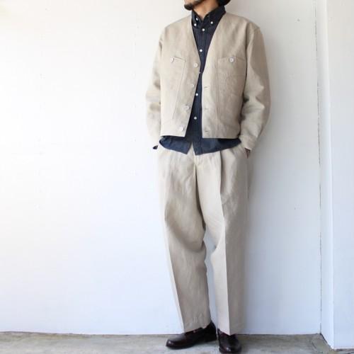 【セットアップ】HAVERSACK リネンカラーレスジャケット/トラウザー Ecru