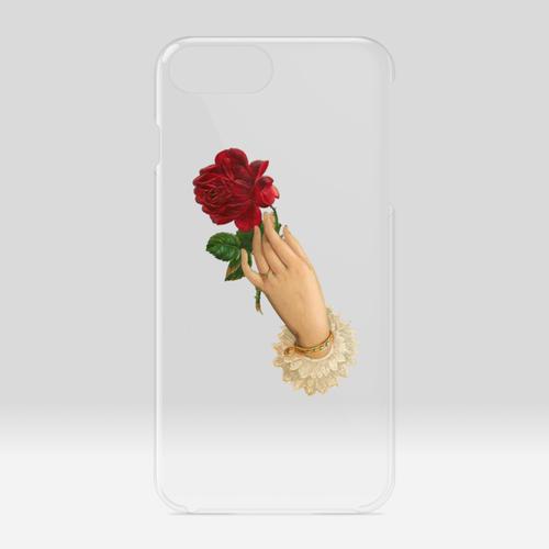 バラと手のiPhoneケース(クリアケース)