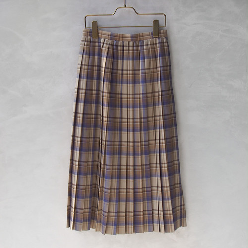 AURALEE SUPER LIGHT WOOL CHECK PLEATED SKIRT BEIGE CHECK
