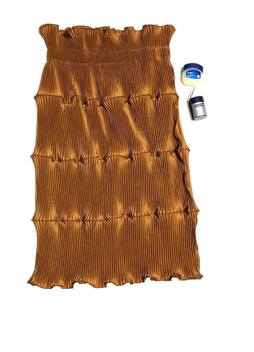 pleats skirt/#brown