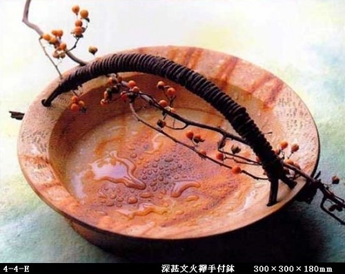 深甚文火襷手付鉢(300×300×180㎜)4-4-E
