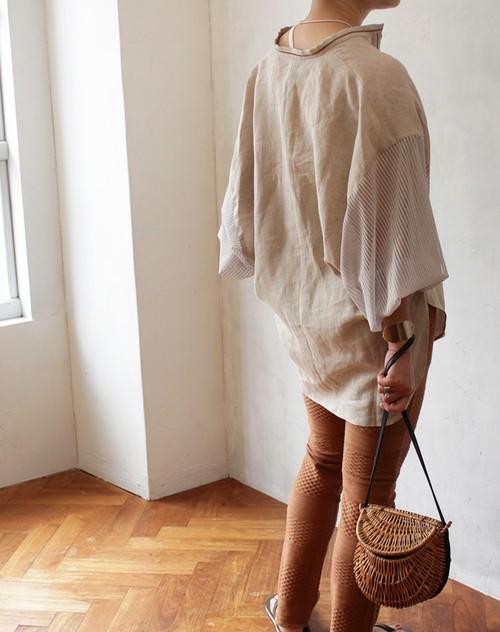 L'Ancre (アンカー)リネンオリエンタルバルーンシャツ