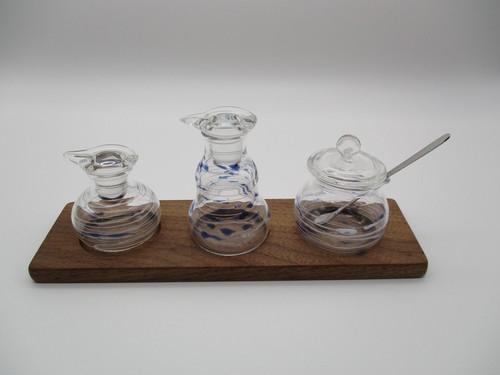 調味料入れ3点セット(丸・ベル・丸・台付)白×青