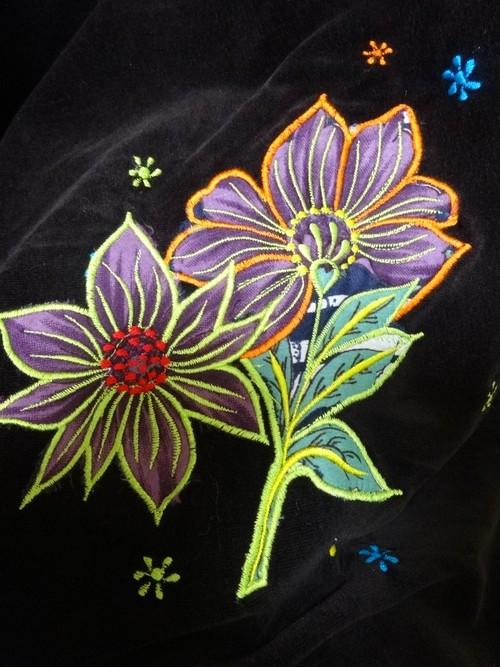 EMS-015BR ベルベット刺繍×シルク巻きスカート 茶色