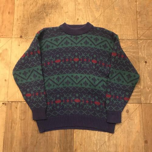 90s OLD GAP Cotton Knit sweater native textile UT 2891