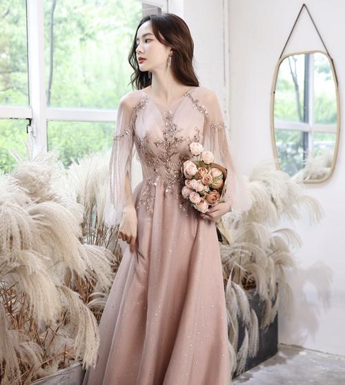 ピンク ロングドレス スパンコール パーティードレス TM0210