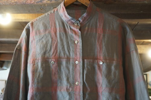 80's plaid linen stand collar Shirt