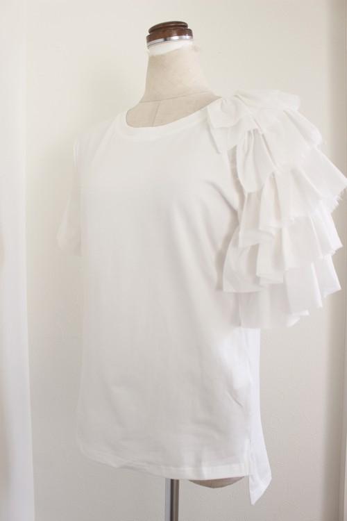 RIMI&Co. SELECT ラッフルショルダー ストレッチTシャツ