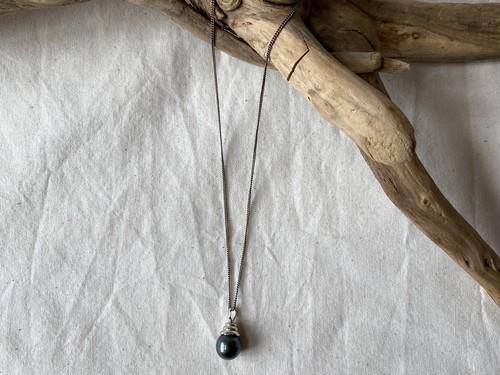 <vintage silver925>gray pearl necklace