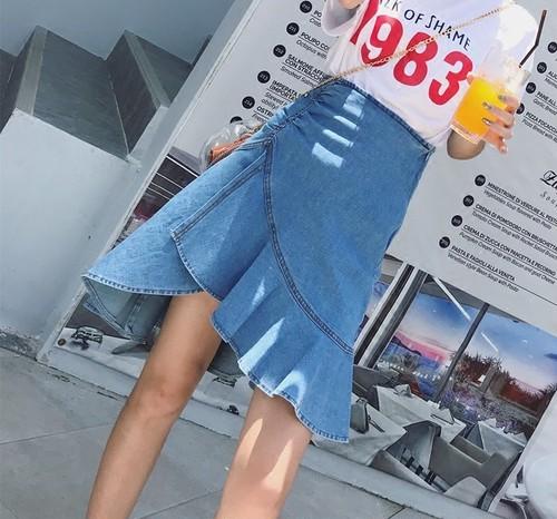 【お取り寄せ商品】frill denim skirt 6665